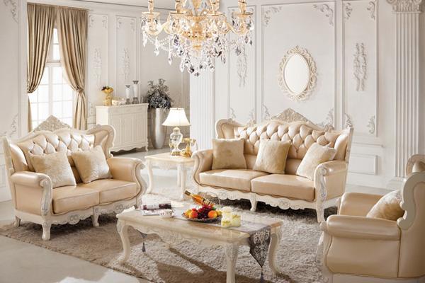 603沙发-法式荷花白镶金实木家具