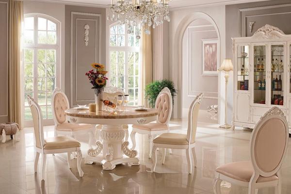 603圆餐桌-白色实木雕刻家具