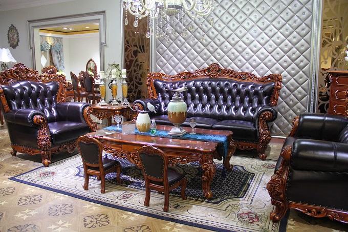 欧式古典家具-原木雕刻沙发 型号8925
